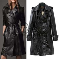 Wholesale 2015 new arrival autumn and winter women leather overcoat long design leather trench PU clothing outerwear Q224