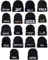 acrylic beanie - New Fashion Men s SWAG YOLO GEEK Beanies Hip Hop Winter Acrylic Knit Wool Caps Hats ZL604