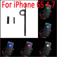 achat en gros de couvertures d'iphone conduit-6S luminescente LED incandescente éclaire Transparent Logo panneau arrière Kit Back Cover pour iphone 6S 4.7 pouces Livraison gratuite