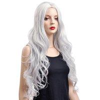 kanekalon wigs - Female Glamorous Charming fashion long gray silver wave100 Kanekalon Fiber Synthetic women Wig Hair High quality fashion lady Wig H9343Z