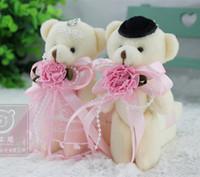 al por mayor pareja oso de peluche rosado-Un Par Mini pares del oso del oso de peluche, venta al por mayor de color rosa Amante osos de peluche, 12cm Moda Pequeños Un Par color rosa Teddy Bears