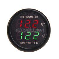 Wholesale 2 In Car V Red Blue Dual Display LED Dual Digital Thermometer Voltmeter Temperature Meter