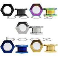 Wholesale hexagon design stainless steel ear tunnel plugs ear gauges piercing jewelry pircing mm SS