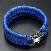 Wholesale New ParaCord Survival Bracelet Weave Handmade Stand Stainless Steel Shackle Buckle Outdoor Camping Survival Kits