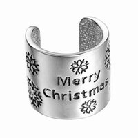 animal chip - Hot sale Christmas gift Ring Chip Jewelry bell New Christmas Ornaments Band Rings with Bell Creative Simple Style Lettering Merry Chris