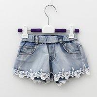 jeans lot - Cute Girls Denim Jeans Shorts Babies Kids Floral Lace Frilled Elastic Waist Pocket Design High Quality For T Kid Girls
