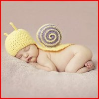 Cheap Crochet Snail Beanie Hat Newborn Baby Photography Props Costume Handmade Infant Animal Style Knit Cap 3-12 Months