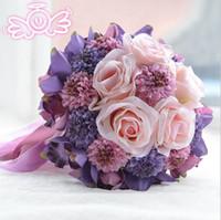 Wholesale Beach Wedding Flowers Bridal Bouquets Purple Rose Romantic Artificial Wedding Bouquet bouquet de mariage Crystal Sale buque de flores ady01