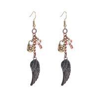 Wholesale Steampunk Vintage Long Hoop Earrings With Charms Personalized Heart Key Lock Eagle Wings Earring Brincos For Women Fashion Jewelry STPKE1500