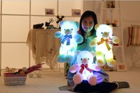 Wholesale Led Lighted Teddy Bear - Wholesale-New Music Playing Luminous Stuffed Bear Toy LED Light-Up Plush Doll Glow Teddy With Tie Pillow Auto Color Rotation Gift