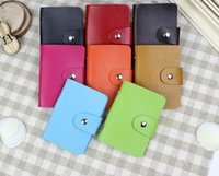 Wholesale Korean Fashion Men Credit Card Holders Pure Color Leather With Buckle Wallets Cards For Card Member Card