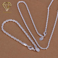Wholesale Body Piercing Jewelry New Fashion Twisted Line Silver Plated Necklace Bracelet Jewelry Sets for Women Men