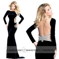 Cheap Tarik Ediz Black Long Sleeve Sheath Column Formal Evening Dresses Sheer Back Crystals Beads Prom Gowns 2015 New Custom Made