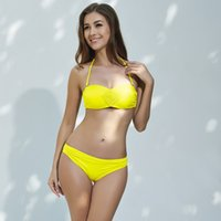 bandeau style swimsuits - Women Bandeau Bikini Wire Mould Push Up Embroidery Swimwear Pleated Swimsuit New Sexy Female Beachwear New Style Ladies Bathing Set