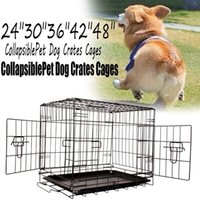 Wholesale US Stock size Dog Wire Cage Pet Rabbit Cage puppy Crate Black folding travel Cat Wire Cage