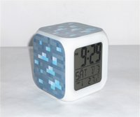 Wholesale New Minecraft LED Digital Alarm Clock with Minecraft Diamond Wall Pattern Desk Clock with Thermometer Colors Shinning Automatically