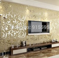 Wholesale Luxury Velvet Victorian Embossed Flocking Non Woven Wallpaper Background Livingroom TV Sofa Damask Leaves Wallpaper Home Decor