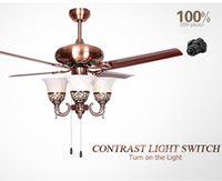 Wholesale Inch ceiling fan light with red electroplating iron blade or paiting red wood grain iron blade