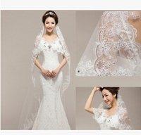 Cheap Bridal veil wedding single long paragraph upscale car bone lace paillette stereoscopic veil
