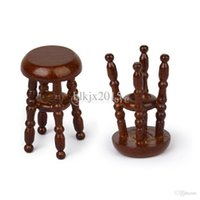 Wholesale New Dollhouse Miniature Wooden Pub Bar Stool Barstool Coffee Miniatura Scale Model Chair Christmas Gift for Kids