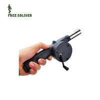 Wholesale Hot Sale BBQ Fan Manual Blower Cranked Outdoor Picnic Camping Fan Air Blower For Barbecue Fire Bellows w Hand Crank