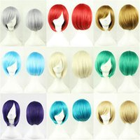 blonde wigs short hair - Short Wig Anime Cosplay Party Straight Hair Cosplay Full Wigs New Fashion