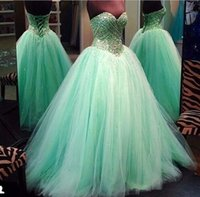 Wholesale Gorgeous Prom Dresses Sequins Beads Ball Gown Sage Pageant Dresses Lace Up Sweetheart Neck Floor Length Tulle Wedding Gowns