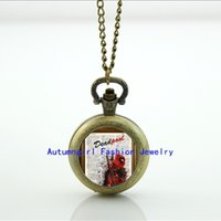 amazing pocket watches - Deadpool in Amazing Splatter Paint Watch Glass Locket Necklace Antique Pocket Watch Necklace WT