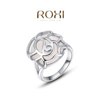 Cheap FG ROXI 2014 Chirstmas Gift Platinum Plated Romantic Hollow Opal Ring Statement Rings Fashion Jewelry For Women Party Wedding