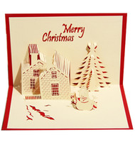 Wholesale 3D three dimensional greeting card business blessing Christmas invitation cards creative postcards Christmas Castle type party supplies
