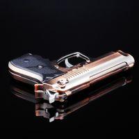 pistol - LED Gun Lighter Gas Novelty Gadget Pistol Gas Lighter Metal Flame Jet lighter for Smoking Windproof Refillable Torch Lighter