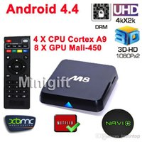 Wholesale Original M8 M8N GB RAM K Rooted Android TV BOX KODI Amlogic S802 Quad Core Mali D Graphics Processing Smart Mini PC Fully Loaded