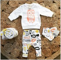 baby novelty shirts - 2016 new pieces sets baby infant kids children outfits t shirts pants suits set owl girl summer A11