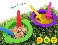 Wholesale sets infants children s soft silicone baby spoon bowl resistance training supplement imported cutlery bowl spoon suit