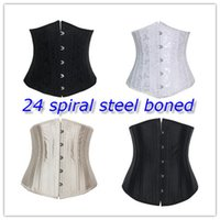 corset plus size - 24 Steel Bone Waist Cincher Trainer Waist Training Corsets Body Shaper Underbust Corset Plus Size Waist Cincher Black White Khaki