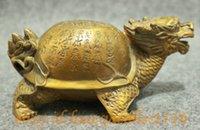 Wholesale New Folk China Bronze Collect Longevity Shou Dragon Turtle Tortoise Statue Sculpture