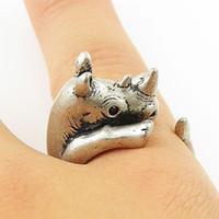 Wholesale Silver Wedding Ring Wrap - 10pcs lot 2015 Hot Fashion Retro Rhino Animal Wrap Ring for Women Vintage Simple Animal Women Ring for Women JZ334