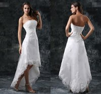 Wholesale 2015 New Fashion A Line Wedding Dresses Sexy Strapless Lace up Sleeveless Wedding Gowns Custom MadeLace Beads Hi Lo Beach Bridal Gowns GR