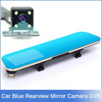 auto recorders - New Novatek P Blue Rearview Mirror Camera Car Dvr Full HD Digital Video Recorder With Two Cameras Auto Dash Cam Black Box