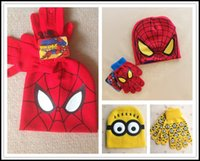 Wholesale 2015 minions and spiderman caps and gloves set suit baby kids hats and mittens children cartoon accessories J082801 DHL