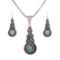 Argent 925 plaqué chaîne Turquoise Cristal Charm Calabash pendentif Boucles d'oreilles Collier Set femmes Bijoux Vintage free shopping