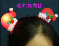Wholesale New Will bright light emitting Christmas hat clip Christmas children hairpin Christmas party supplies the hairpin Christmas gifts
