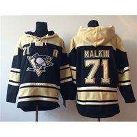 athletic sweatshirts - Penguins Evgeni Malkin Black Hockey Hoodies Mens Hooded Sweatshirts New Fashion Athletic Apparel Top Quality Lace Up Hockey Uniform