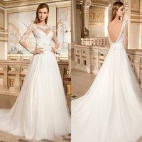 Wholesale A Line Sweetheart Sheer Neck Applique Lace Tulle Long Sleeve Sexy Backless Chapel Train Wedding Gown Wedding Dress DE GR269