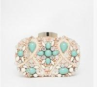 Wholesale Turquoise nude pearl set auger wedding dinner with single shoulder bag wedding bag party bag s