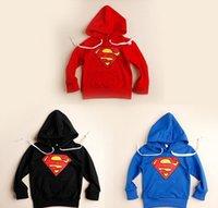 Cheap Neutral Superman Hoodies Sweatshirts 90-130cm Autumn Children Kids Boys Girls Cotton Fleece Jackets Overcoat Outwear Black Red Blue K0998