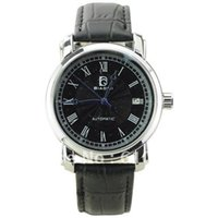 Wholesale Novelty Roman Automatic Self Wind Mens Business Mechanical Wrist watch with Geniune Leather BIAOQI Black