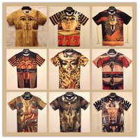 ancient egyptian fashion - New Casual fashion women men Ancient Egyptian pharaoh Double print funny D Tshirts Cotton galaxy tops tees