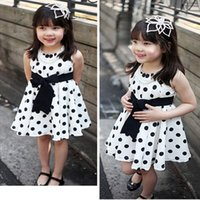 Wholesale 2015 new Summer girl dress princess dresses Dot Bow causual Dark Blue White baby kids dress girls clothing cheap