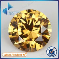 Wholesale hot sale mm round cut champagne zirconia stone AAA cz stone